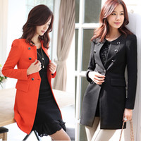 Cheap Wholesale-XXXL 2015 New Slim Double Breasted Women Business Suit Plus Size Long Sleeve Medium-long Black Outerwear Free Shipping