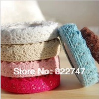 Cheap Wholesale-Free shipping (6pcs lot) 28colors for choose lace tape decoratjon cotton lace trim french fabric each roll in PVC box