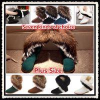 artificial fur fabric - Winter Platform Wedge Leather Ankle Women Flats Shoes Snow Boots Artificial Fox Rabbit Fur Tassel Plus Size