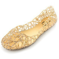 Wholesale colour flat crystal jelly shoes melissa women cut outs sandals flip flops hollow powder glitter nest hole