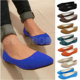 Wholesale D O058 Fashion Women s Lady Round Toe Ballerina Dolly Microsuede Slip on Slipper Flat Shoes colors solid Spring Autumn