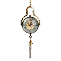 Wholesale Retro vine steampunk skeleton pocket watch with chain Women s Transparent Alloy Mechanical Analog Necklace Watches Bronze