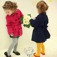 Cheap Wholesale-2015 Spring Autumn Girls Fashion Red Black Trench Princess Outerwear Overcoat, Christmas Sale