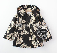 Cheap Wholesale-High quality 2015 new England style girl trench,print polka dot bowknot girl's coat,cotton hotsale children hood outerwear
