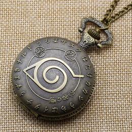Wholesale-Vintage Bronze Naruto Quartz Necklace Pendant Pocket Watch Chain Unisex P142