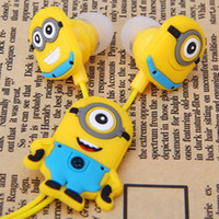 Wholesale New Cartoon Anime Earphone Minion despicable Me mm in ear Headphones For i Phone Mobile Phone MP3 player Computer kids gift