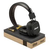Cheap Wholesale-Original boxed Marshall Major Leather Noise Cancelling Deep Bass Stereo Monitor DJ Hi-Fi Headphones Headset W Remote free ship