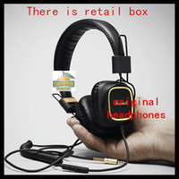 Cheap Wholesale-Marshall Major With Microphone & Remote 50 fx DJ Pro Stereo Headphone With gold color New&genuine free shipping