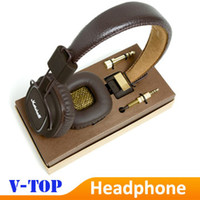 Cheap Wholesale-Brown Marshall Major Leather Noise Cancelling Deep Bass Stereo Monitor DJ Hi-Fi Headphones Headset W Remote HK free shipping