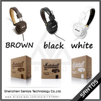 Cheap Wholesale-2015 new brand Marshall Major headphones with microphone black white brown Pro earphone DJ super deep bass stereo audio headset