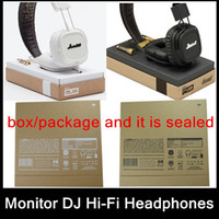 Cheap Wholesale-Free shipping Original boxed Marshall Major Leather Noise Cancelling Deep Bass Stereo Monitor DJ Hi-Fi Headphones Headset Remote