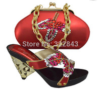 Cheap Free shipping.Excllent High heel shoes perfect matching with handbag red color,Nice Italian lady shoes and bag sets for party