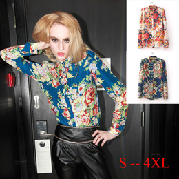 Wholesale-New 2015 Womens Blouse Autumn Long Sleeve Blouse Shirt Chiffon Flower Blouse Ladies Tops Clothing S001