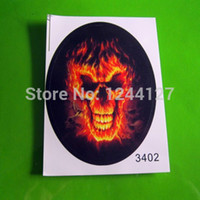 Cheap Wholesale-Free Shipping 6PCS FlaMes Skull Motorcycle Car Auto Racing Decal Sticker