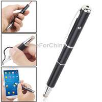 Cheap Wholesale-3 in 1 (High-precision Capacitive Stylus Black Ballpoint Pen Red Laser Point) for iPad mini Galaxy S4 N7100 i9500, Black