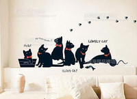 background cats - Fashion DIY Black Cat Family Living room bedroom background decoration Wall Stickers cm x cm