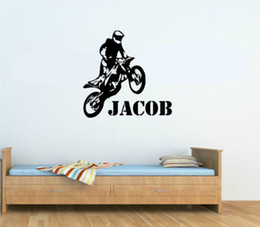 Wholesale Personalised Any Name Motorbike Motocross Wall Art Wall Decal Vinyl Kids Boys Wall Sticker Paper Home Decor
