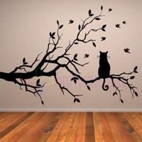 anime poster art - Cat On Long Tree Branch DIY Vinyl Wall Sticker Animals Birds Anime Poster Wall Decal Art Kitchen Window Wall Stickers Home Decor