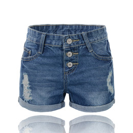 Wholesale-Plus size Large size denim shorts women holes buttons fly roll up hem hot jeans XXXXXXL Free shipping