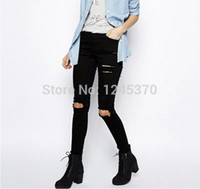 100 cotton jeans for women - Boutique black and white slim ripped jeans for women woman cotton denim capris full pants spring and autumn new CL185