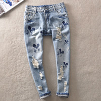 ankle jeans trend - Cartoon Embroidery Loose Straight Jeans Pants Spring and summer Retro hole finishing Casual Ankle Length Trousers the trend of