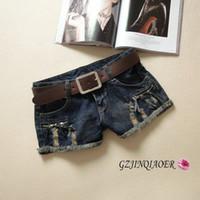 Cheap Wholesale-Sale 2015 jeans woman summer ripped short jeans 25-29 sexy casual soft zipper flash hole decoration female shorts denim jeans