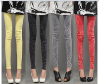 Wholesale Hot Sale Spring New Arrive Women Jeans Pencil Pants Candy Color for Lady Water Washing Cotton Material Large Size