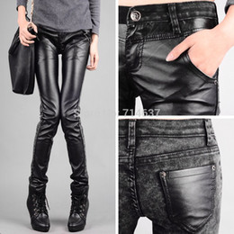 Discount Plus Size Women Leather Jeans | 2017 Plus Size Women ...
