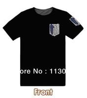 t-shirts no logo - shingeki no kyojin Attack on Titan t shirt Survey Legion T shirt cosplay Blue brown color LOGO cotton