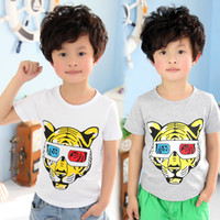 Cheap Wholesale-2015 hot sale summer child clothing cool tiger boys clothing girls clothing baby child short-sleeve T-shirt A0909