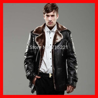 Cheap Wholesale-2015 EMS free shipping brown sheepskin leather fur clothing business wool men coats sexy waterproof jacket
