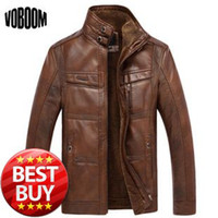 Wholesale New Men s Casual Winter Warm PU Leather Jacket with Velvet One Piece Leather Clothing Thicken Pilot Man s Leather