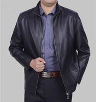 Wholesale Plus size leather jacket men Spring new mens sheepskin coat Short slim fit leather jackets for men motorcycle jacket black