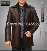 Wholesale Male plus velvet leather in the long section men s leather jacket lapel business casual warm jacket