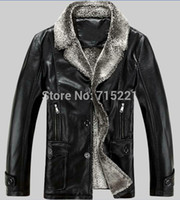 Wholesale big size xl cashmere winter waterproof clothing fur coat discount mens leather jacket