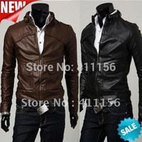 Cheap Wholesale-Free Shipping NEW Men's Slim Top Designed Sexy PU Leather Short Jacket Coat 2 Color 4SIZE 1045