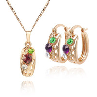 Cheap Wholesale-2015 New High Quality 18K CC Color Rhinestone Crystal Gold Plated Women Jewelry Set.African Wedding Costume Jewelry Bijuterias