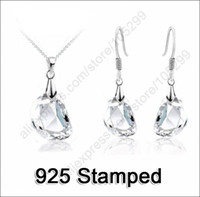 Wholesale Jewely Sets Waterdrop Shaped Crystal Wedding Engagement Sterling Silver Earring Necklace Women Party Gift