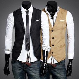 Wholesale-Spring Fashion Solid Slim Fit Turn-Down Collar Men Dress Suit Vests Mans Overcoat XXL