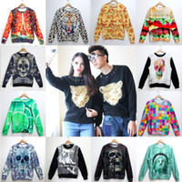 Cheap Wholesale-HOT 2015 New fashion Women Men Hoodies paris skull Animal Leopard tiger print 3D Pullover Sweatshirts Galaxy sweat suit Tops