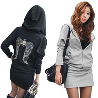 Cheap Wholesale-NEW Hot Sexy Women Long Hoody Short Dress Back Wings Pullover Casual Jumper HE1364#M4