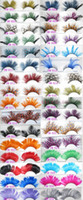 art eyelashes - International color feathers exaggerated false eyelashes Modelling pictorial art show colored eye lashes extension stage makup