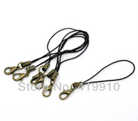 Cheap Wholesale-Free shipping-100 PCs Nylon Zinc Metal Alloy Cell Phone Lanyard Strap 0.7mm Cords W Lobster Clasp 7cmM00779
