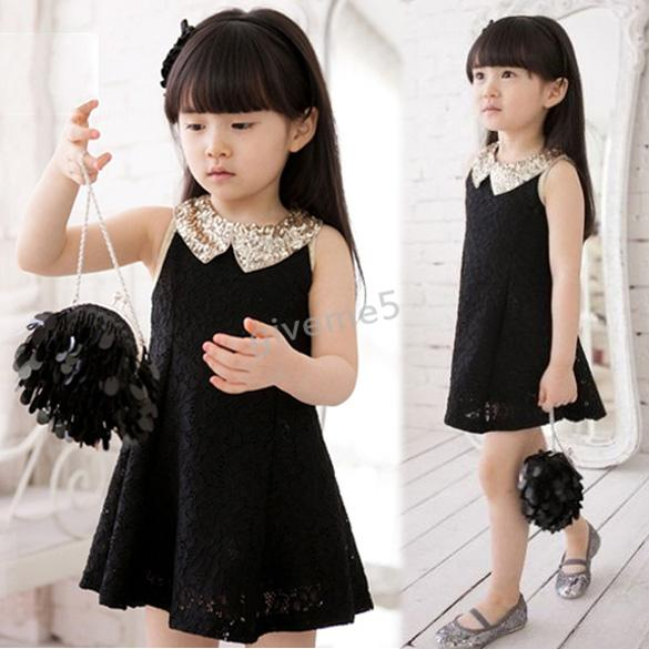 2015 New Baby Kids Children's Girls Lovely Casual Sequin Collar Sleeveless Vest Princess Lace Dress Black White 3-10 Years