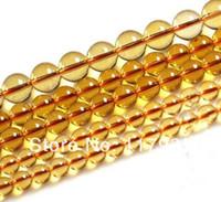 "Cheap Wholesale-Wholesale100% Natural AAA orange brasilian citrine crystal quartz round glossy loose beads 15"" strand lot 6-14mm jewelry"
