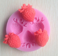 Wholesale strawberry silicone mold soap fondant candle molds sugar craft tools chocolate moulds silicone molds for cakes