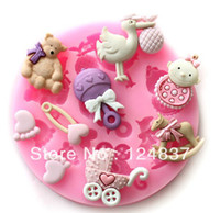 Cheap Wholesale-Mini Baby Doll Theme Silicone soap mold Jelly pudding molds cake decorating cupcake chocolate Fondant mould bakeware tools