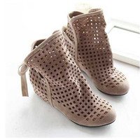 Cheap Wholesale-2015 New Summer ankle boots for women inside wedge heels cutout sandals Hot sale Big size 34-43 Beige Red Black shoes