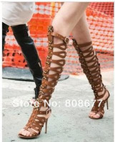 Wholesale Hot Selling Summer New Arrival Sexy Open Toe Knee High Gladiator Sandals Women High Heel Cut outs Boots
