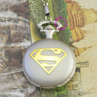 Wholesale fashion silver classic logo super man superman pocket watch chian hour price good quality